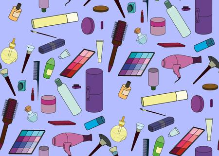 makeup artist: seamless makeup tools pattern. Colored icon makeup artist set brushes, tubes, combs, lipstick Illustration