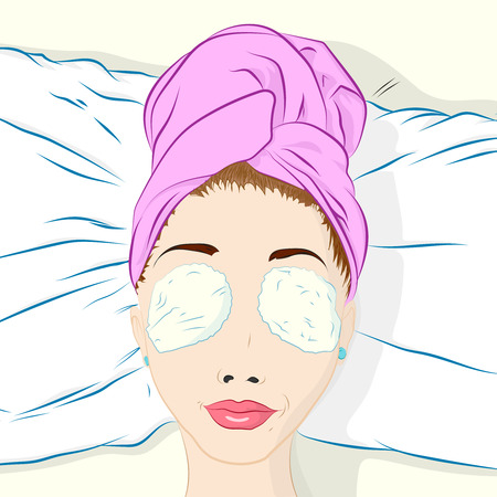 towel head: girl lies on a bed with towel on head and cotton pads on her eyes Illustration