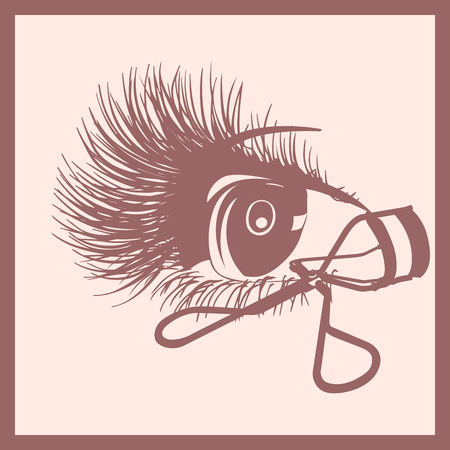 lashes: monochrome icon eye and curler for lashes in frame isolated