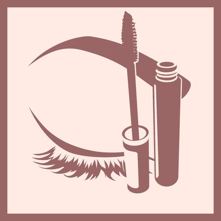opened eye: flat icon opened mascara and closed eye in frame monochrome isolated Illustration