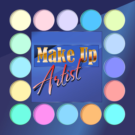 makeup artist: luxury for make-up artist with flat color palette of eyeshadows