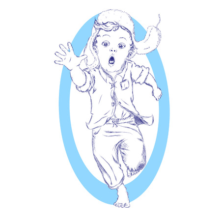 indicative: Running excited barefooted little boy in a fur hat and pointing forward sketch. Illustration