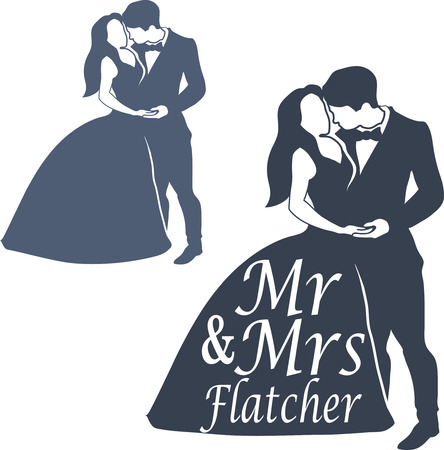 topper: Wedding Couple Cake topper isolated on white. Black silhouette groom and bride set. Illustration