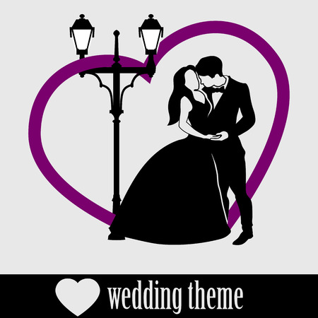cuddling: Wedding Couple isolated on white. Black silhouette groom and bride with big heart and vintage street lamp background.