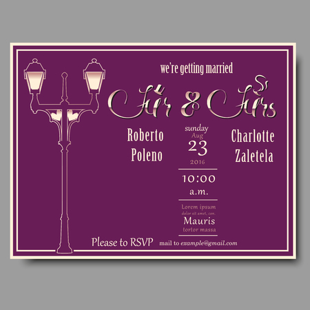 ms: Wedding Invitation for Ms and Mrs with gold text and street lamp on purple background.