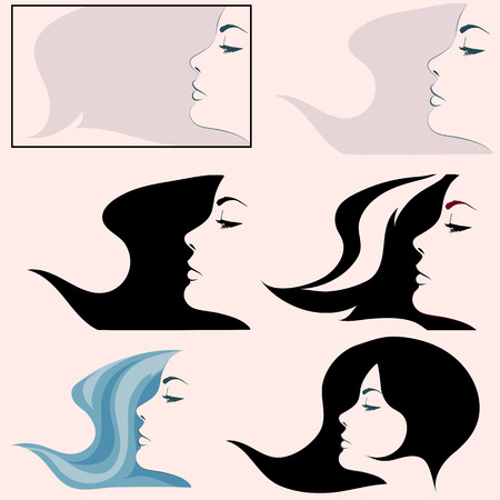 black woman: Woman profile simple vector. Black and white girl profile face. Isolated girl profile set.