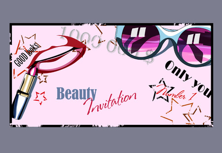 beauty shop: Template card for beauty invitation or shop on stars background with lipstick, lips silhouette and glasses woman. Vector illustration for girls.