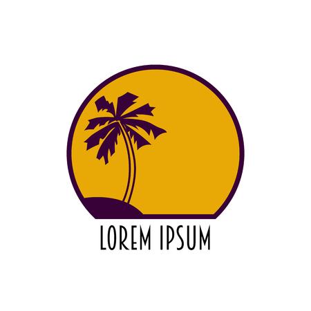 desert island: Palm and sun. Summer desert island Vector icon. Illustration
