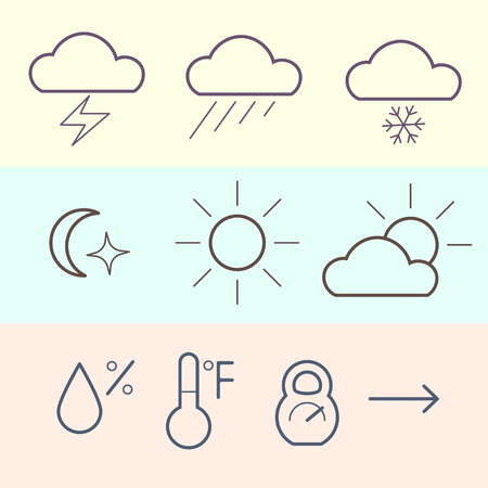 atmosphere: Weather icons set. Atmosphere pressure icon. Thin line icon.