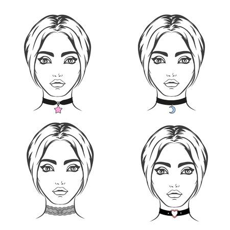 bocetos de personas: aislado conjunto de gargantilla de vector. El collar con el símbolo