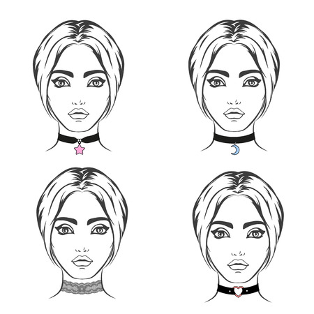 choker: Choker set vector isolated. Necklace with symbol