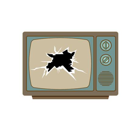 televisor: Broken tv screen vector. Retro colorful tv isolated on white background