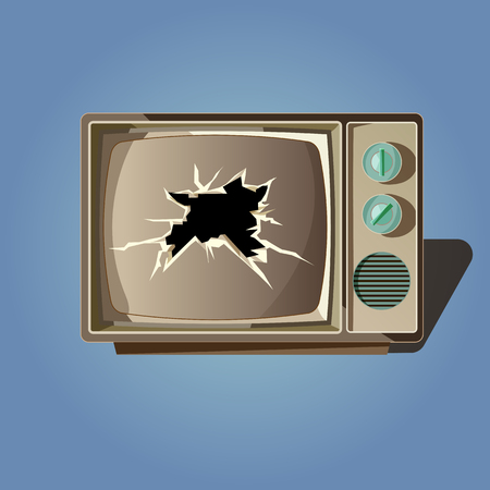 televisor: Broken old tv screen vector. Retro colorful tv isolated on white background