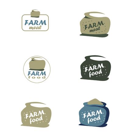 sack: Sack set. Farm food vector. Illustration