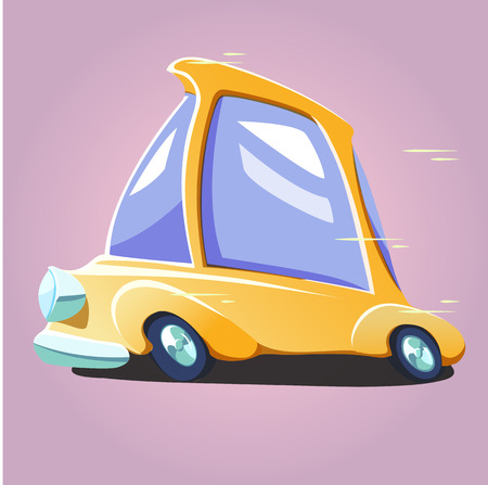 rapid: Cartoon yellow rapid car Illustration