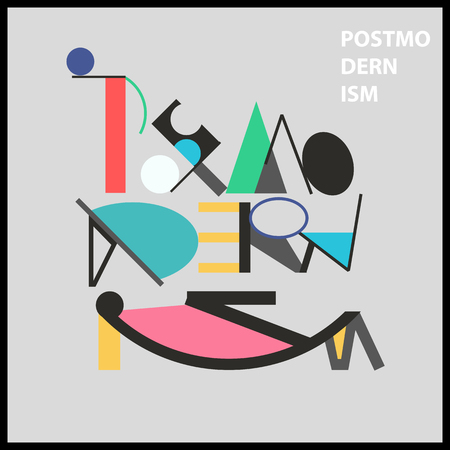 Postmodernism Wort und sarkastisch Gesicht. Geometrische helle bunte Plakat in Memphis Stil für inter-Design. Zusammenfassung Symbol