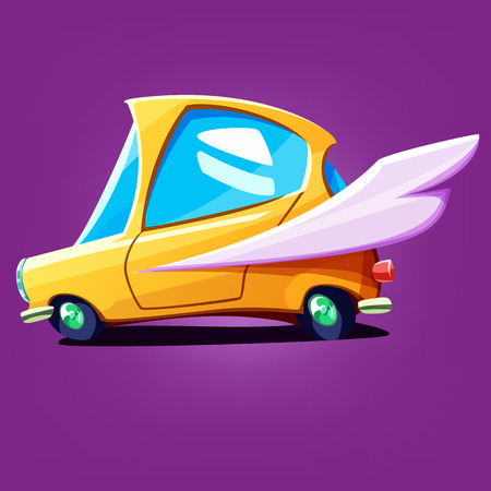 rapid: Fast cartoon yellow car with wing. colorful rapid car illustrated quick delivery or taxi Illustration