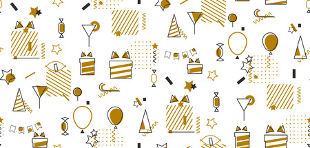 Geometric holiday seamless pattern on white background. Abstract mosaic gold pattern for gift, feast or new year wrapping.