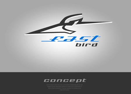 rapid: Bird head, rapid moving and speed. Vector beak pecker icon sport theme.