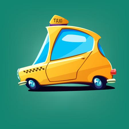 Cartoon rapid yellow taxi car. Vector illustration Illustration