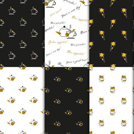 gold house: Gift wrap with cup, teapot and cupcakes. Dark and gold seamless wrapping paper set coffee house, caf? ? takeaway Illustration