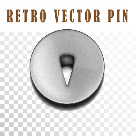 tack: Retro pushpin isolated on white. Metallic tack with texture.