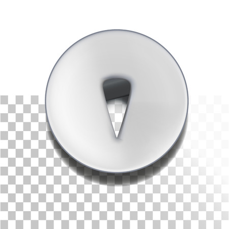 white pushpin: Retro pushpin isolated on white. Metallic retro thumbtack. Illustration