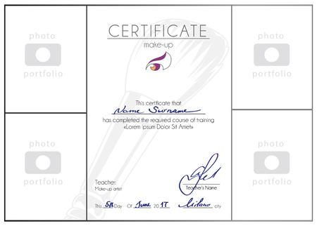 makeup artist: Make up course completed certificate template. Makeup artist blank A4 vector diploma design.