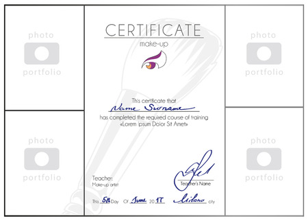 Make-up cursus afgerond certificaatsjabloon. Make-up artist blanco A4 vector diploma design.