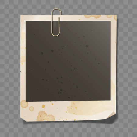 attached: Old photo with dirty paper texture. Retro blank photo frame with attached clip and coffee marks. Illustration