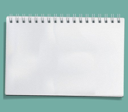 jotter: Vector Notebook isolated on white background. Blank realistic spiral notepad with crumpled paper sheets.