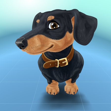 Happy smiling dog isolated realistic vector illustration. Satisfied dachshund in collar. Çizim