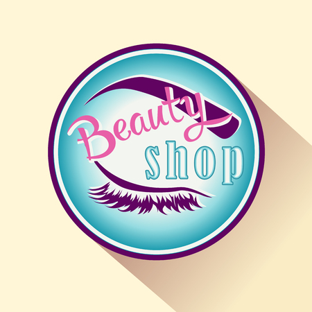 beauty shop: Beauty shop icon or logo. Vector isolated badge for makeup and beauty.
