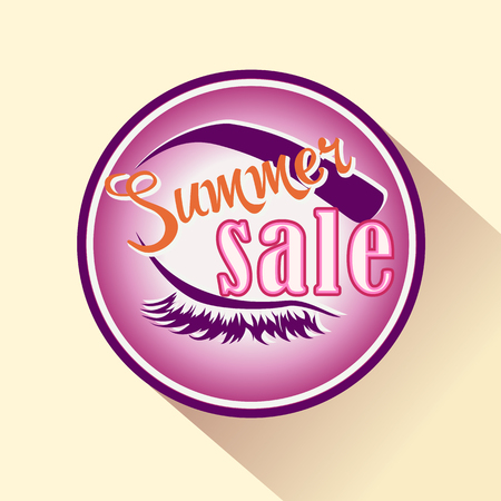 beauty shop: Summer sale icon cosmetics shop. Vector isolated badge for makeup and beauty. Illustration