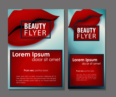 defiant: Female offer with sexy red vector lips. Beauty defiant business card set. Illustration