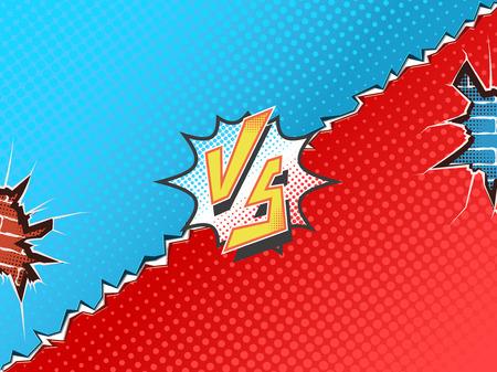 문자 대 배경 만화책 슈퍼 영웅 싸움.