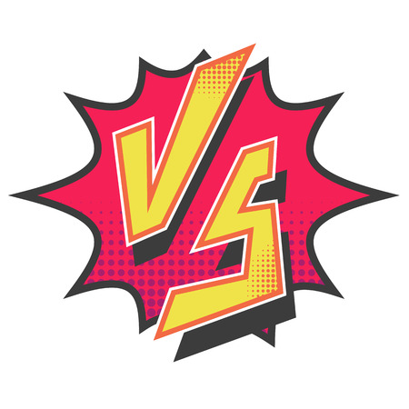 Versus letters fight for comic book superheroes. Illustration