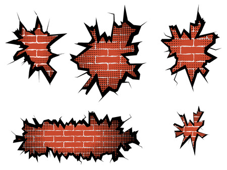 hole in one: Set hole in broken wall and brick background with halftone. Vector illustration. Illustration
