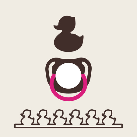 silhouette caneton. sucette bébé pour voir. Isolated Vector illustration pour les enfants. soother plat simple. Rubber Duck logo.