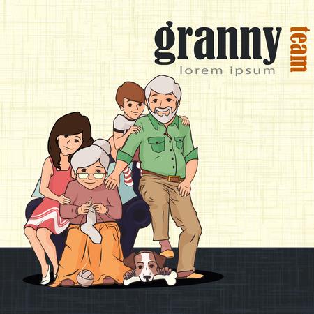 Großeltern Sitzen Zusammen Mit Ihren Haustieren. Glückliche ...