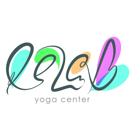 health club: Yoga club logo concept. Relax lettering. SPA center logo. Health and beauty label. Hand drawn typography Relax phrase isolated on white background.
