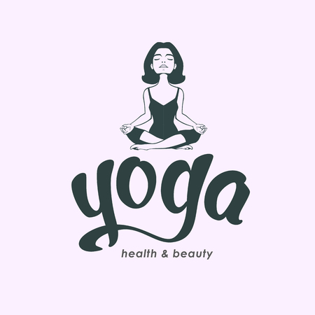 beauty center: Young woman practicing yoga. Girl do yoga lotus pose. Yoga lettering. Meditation . Health and beauty spa center. Hand drawn calligraphy Relax phrase isolated on white background.