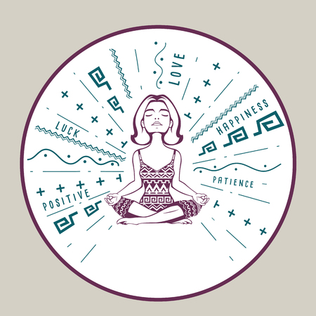woman meditation: Good vibes charm with woman meditation pose. Vector illustration. Motivation poster with positive, happy, love feelings for excellent health. Young woman practicing yoga. Illustration