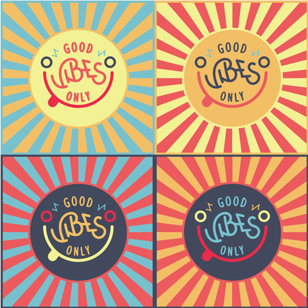 positive energy: Positive quote and icon concept. Good vibes only. Smiling vector sun. Positive energy poster. Illustration