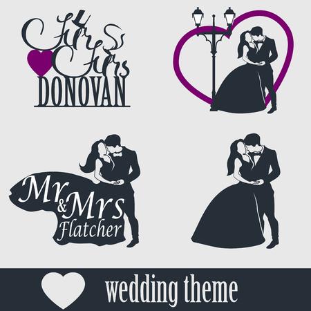 señora: pastel de bodas Topper conjunto de vectores. Pares de la boda aislados silueta. El Sr. y la Sra letras. El novio y la novia juntos.