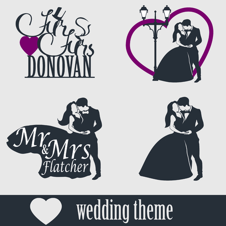 topper: Wedding cake topper vector set. Wedding couple isolated silhouette. Mr. and Mrs. Lettering. Groom and bride together.