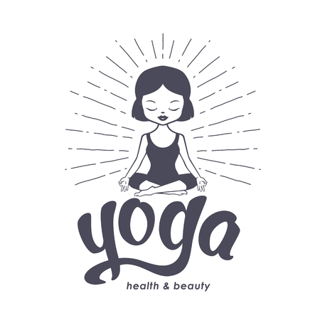 Yoga for kids logo with calm little girl. Vector illustration isolated on white background.
