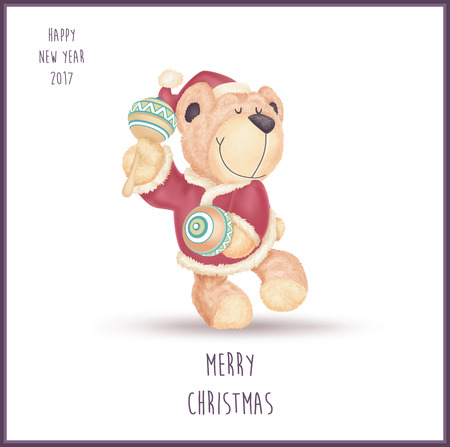 Happy dancing with maracas teddy bear and dressed like Santa Claus isolated on white background. Happy new year 2017 and merry Christmas vector illustration. Illusztráció