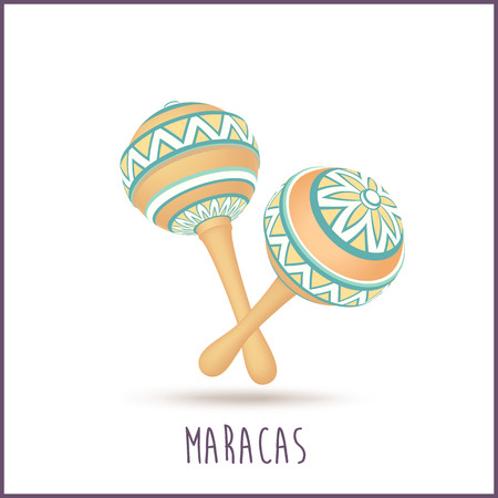 Pair vector yellow maracas with ornament isolated on white background.