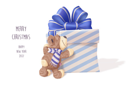 tatty: Teddy Bear hugging big gift. Merry Christmas and happy new year 2017 vector illustration. Big realistic box with blue bow.